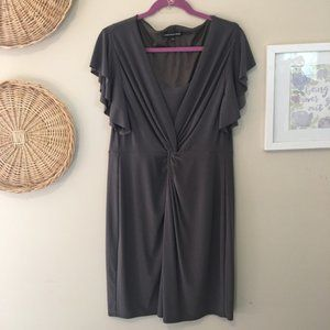 Jones Wear Plus Twist Front Ruffle Sleeve Dress